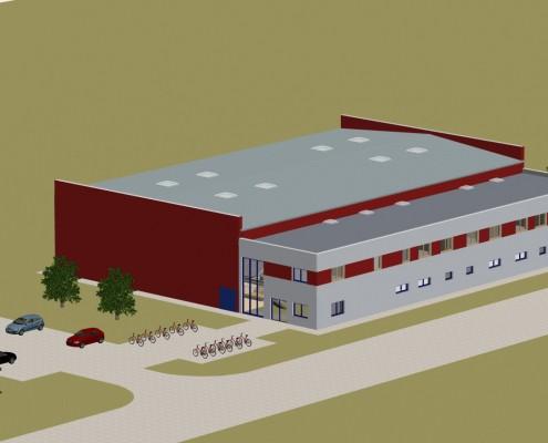 Visualisierung der gegenwärtigen Planung. So könnte die neue Zweifeldhalle mit integriertem Bürgerhaus aussehen. Blick von Südosten auf den Baukörper.