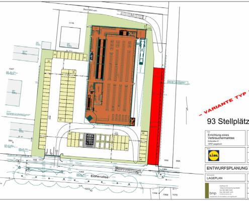 B-Plan-Entwurf Lidl-neubau 2016 (Plan: Planungsbüro Ludewig)